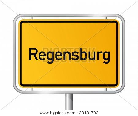 City limit sign REGENSBURG against white background - Bavaria, Bayern, Germany