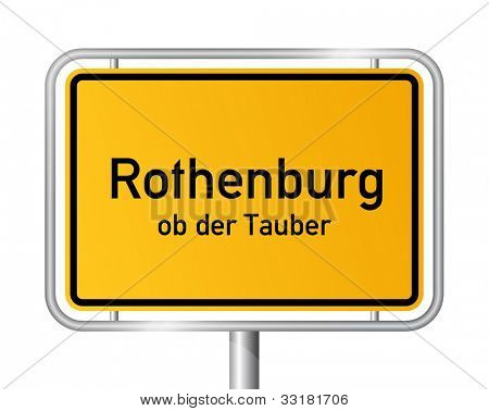 City limit sign ROTHENBURG OB DER TAUBER against white background - Bavaria, Bayern, Germany