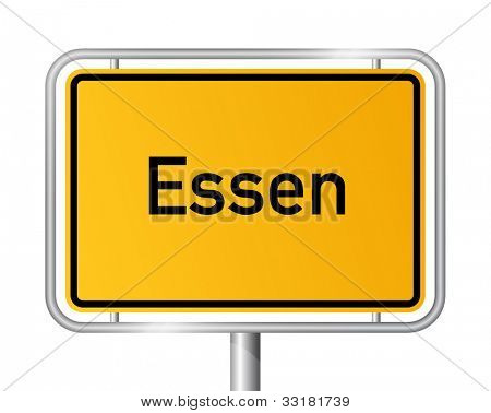 City limit sign ESSEN against white background - North Rhine Westphalia, Nordrhein Westfalen, Germany