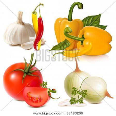 Conjunto de vegetais de vetor: alho, pimenta, pimentão, tomates e cebolas