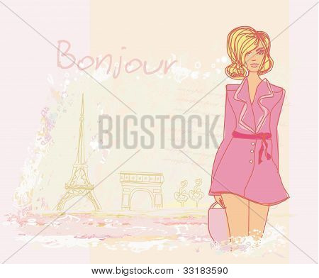 beautiful women Shopping in Paris - vector card