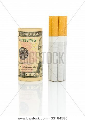 Money And Cigarettes On A White Background