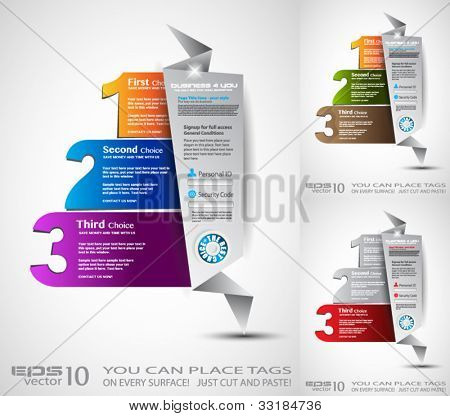 Origami option menu' with 3 choices. Ideal for web usage, depliant for product comparison or business presentation.