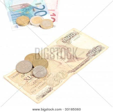 Greek Drachma With Coins And Euro Banknotes With Coins