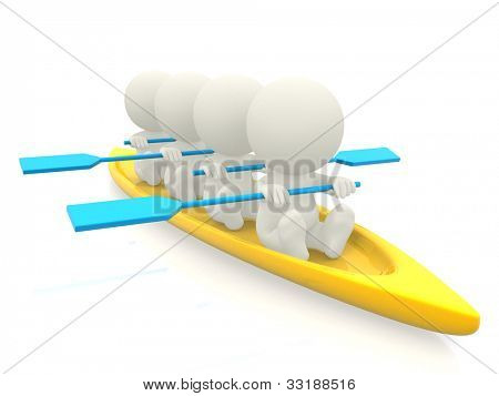 3D team rowing - isolated over a white backround
