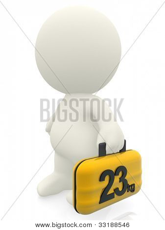 3D traveler carrying a 23 kg bag - isolated over a white background