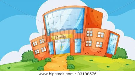 Illustration of the front of a school