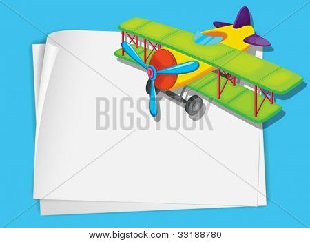 Illustration of a green plane on white