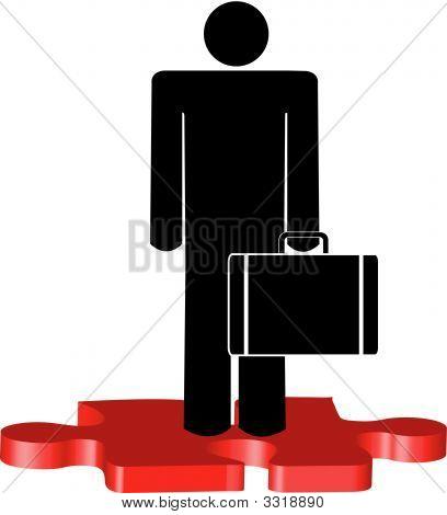 Puzzleteil Mann Business Standing Aufkleben