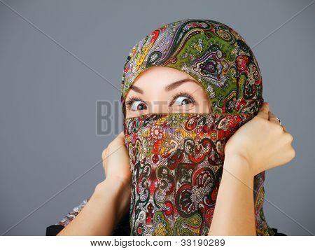 Arab women in hijab in anger