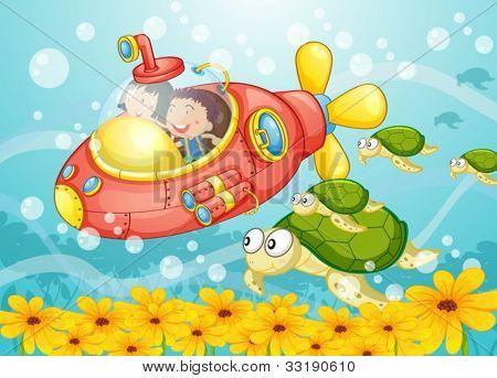 Illustration of a submarine scene