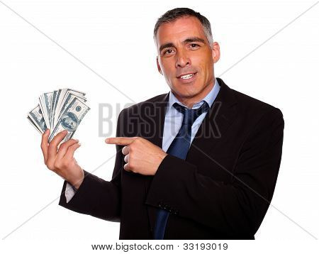 Hispanic Senior Business Man With Dollars