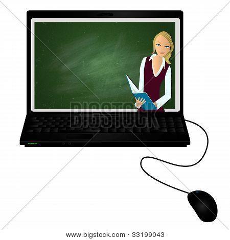 E-tutor/lap Top With Virtual Tutor On The Screen