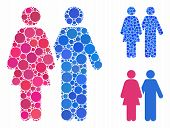 Adult Pair Composition Of Filled Circles In Various Sizes And Color Tints, Based On Adult Pair Icon. poster