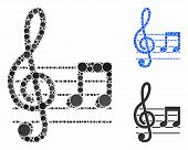 Musical Notation Mosaic Of Round Dots In Different Sizes And Shades, Based On Musical Notation Icon. poster