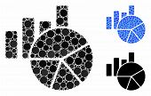 Charts Mosaic Of Round Dots In Variable Sizes And Color Tinges, Based On Charts Icon. Vector Round D poster