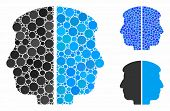 Dual Face Composition Of Round Dots In Variable Sizes And Color Tones, Based On Dual Face Icon. Vect poster