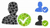 Patient Ok Mosaic Of Round Dots In Different Sizes And Color Tints, Based On Patient Ok Icon. Vector poster