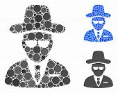 Agent Mosaic Of Filled Circles In Various Sizes And Color Hues, Based On Agent Icon. Vector Filled C poster