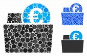 Euro Wallet Composition Of Round Dots In Variable Sizes And Shades, Based On Euro Wallet Icon. Vecto poster