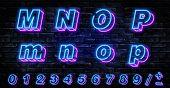 3d Neon Letters M-p. Neon Blue Font English. City Blue Font. Neon City Color Blue Font. English Alph poster