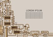 Vector Banner On The Theme Of Chemical Laboratory Or Industrial Equipment With Various Appliances, D poster
