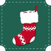 Empty Red Christmas Stocking On Green Background, Christmas Decoration, Vector Illustration poster