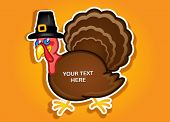 Thanksgiving Turkey Pilgrim label / Sticker in vectors