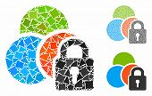 Lock Colors Mosaic Of Inequal Elements In Different Sizes And Color Tints, Based On Lock Colors Icon poster