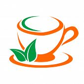 Coffee And Tea Cups Vector Symbols. Logo Coffee Cup With Coffee Wreath. Logo Green Tea Cup With Wrea poster