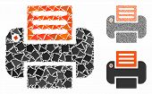 Print Mosaic Of Abrupt Elements In Various Sizes And Color Tones, Based On Print Icon. Vector Abrupt poster