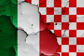 Depiction Of Italy And Croatian Checkerboard Flag poster