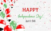 Syrian Arab Republic Independence Day Greeting Card. Flying Balloons In Syrian Arab Republic Nationa poster