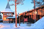 Santa Claus Main Post Office At Lapland Scandinavia Sunset poster