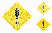 Caution Composition Of Tuberous Elements In Different Sizes And Color Tinges, Based On Caution Icon. poster