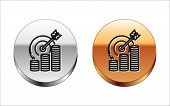 Black Line Target With Coin Symbol Icon Isolated On White Background. Investment Target Icon. Succes poster