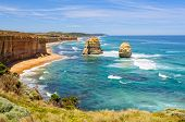 Two Of The Famous Limestone Rock Stacks Off The Shore Of Port Campbell National Park - Port Campbell poster