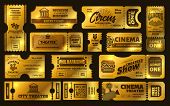 Golden Tickets. Gold Circus Show Ticket, Premium Cinema Movie Night Coupon And Theatre Tickets Vecto poster