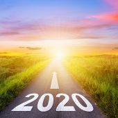 Empty Asphalt Road And New Year 2020 Concept. Driving On An Empty Road To Goals 2020. poster