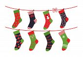 Cartoon Socks. Children Clothing Elements With Cute Christmas Patterns Drying Sock Collection On Rop poster