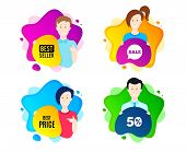 Best Price. People Shape Offer Badge. Special Offer Sale Sign. Advertising Discounts Symbol. Dynamic poster