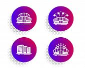 Sports Arena, Buildings And Sports Stadium Icons Simple Set. Halftone Dots Button. Arena Stadium Sig poster