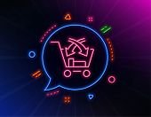 Cross Sell Line Icon. Neon Laser Lights. Market Retail Sign. Glow Laser Speech Bubble. Neon Lights C poster