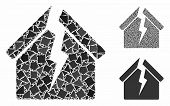 Housing Crisis Mosaic Of Raggy Parts In Variable Sizes And Shades, Based On Housing Crisis Icon. Vec poster
