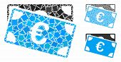 Euro Banknotes Mosaic Of Bumpy Pieces In Various Sizes And Color Hues, Based On Euro Banknotes Icon. poster
