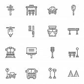 Urban Transportation Line Icons Set. Linear Style Symbols Collection Outline Signs Pack. Vector Grap poster