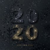 2020 Happy New Year Background. 2020 Number Design With Glittering Black And Gold Numbers On Texture poster