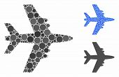 Aircraft Mosaic Of Circle Elements In Different Sizes And Color Tinges, Based On Aircraft Icon. Vect poster