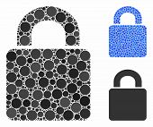 Lock Composition Of Round Dots In Variable Sizes And Color Tints, Based On Lock Icon. Vector Round D poster