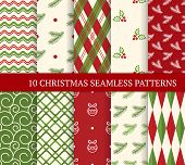 Ten Christmas Different Seamless Patterns. Xmas Endless Texture For Wallpaper, Web Page Background,  poster